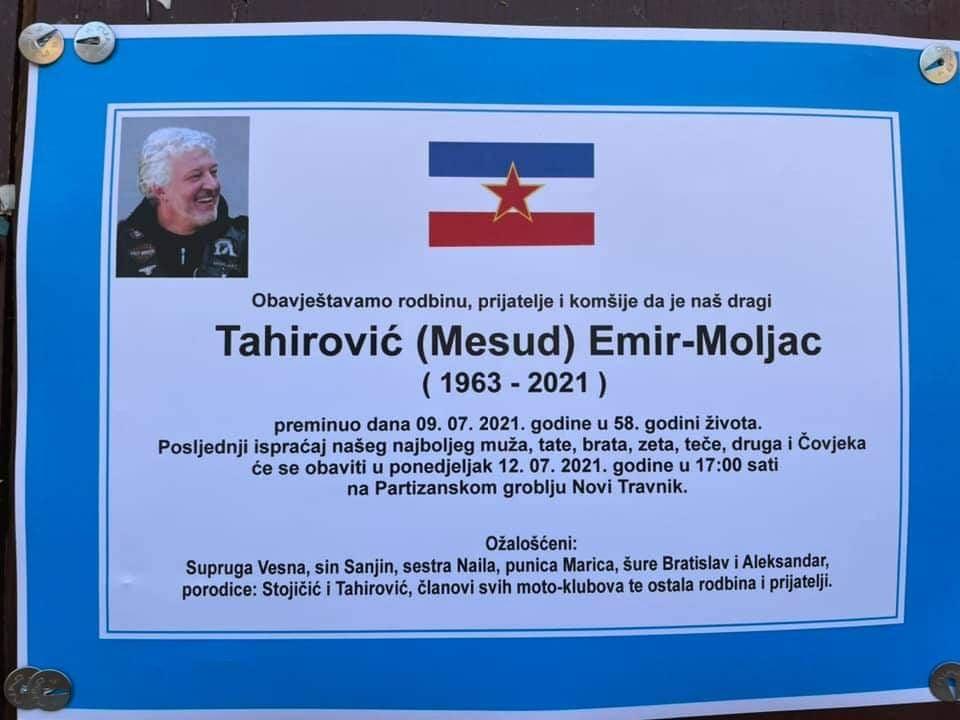 U ponedjeljak posljednji ispraćaj Emira Tahirovića Moljca
