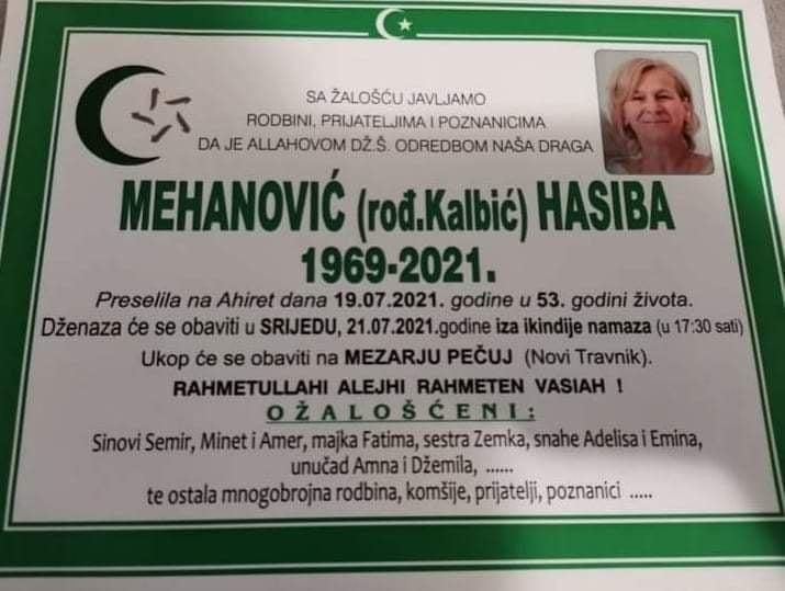 Preminula Hasiba Mehanović