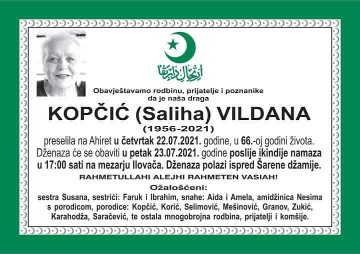 Preminula Vildana Kopčić