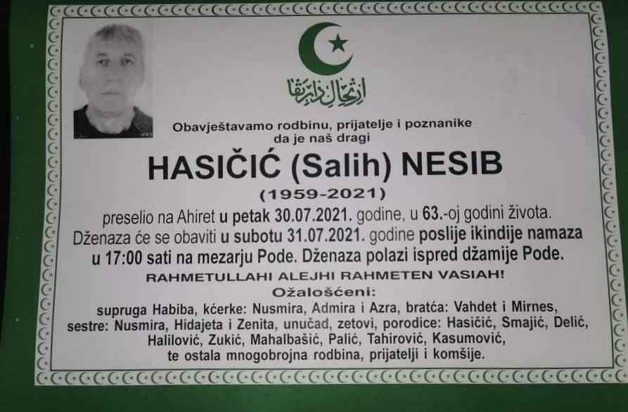 Preminuo Nesib Hasičić