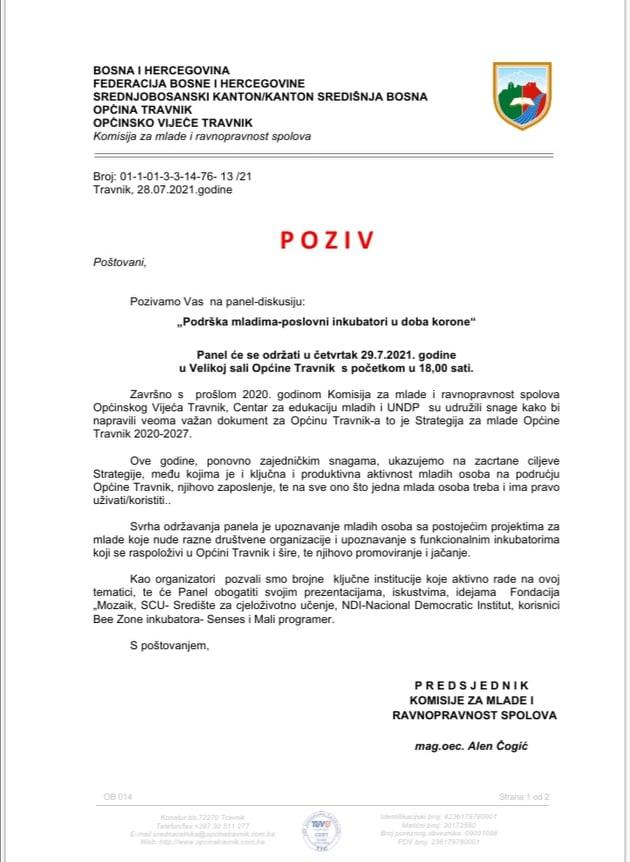 """Sutra u Općini Travnik/ Panel-diskusija """"Podrška mladima-poslovni inkubatori u doba korone"""""""