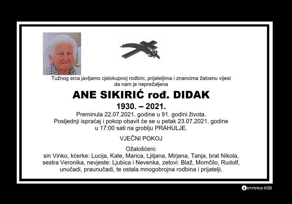Preminula Ane Sikirić