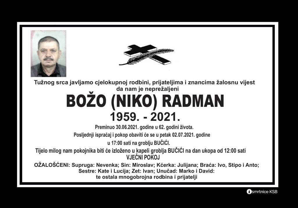 Preminuo Božo Radman