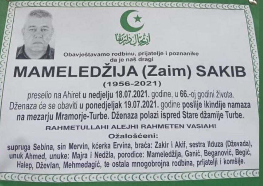 Preminuo Sakib Mameledžija