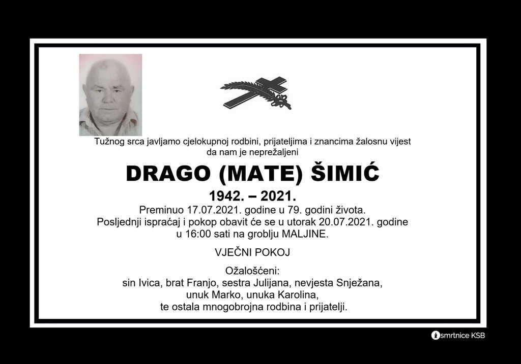 Preminuo Drago Šimić