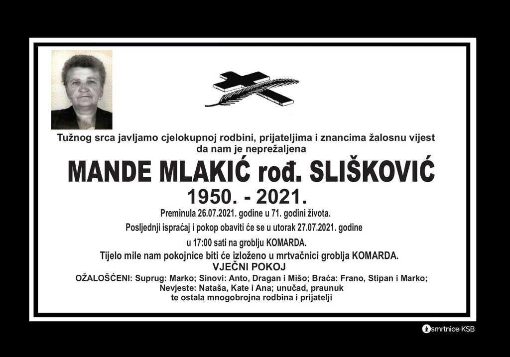 Preminula Mande Mlakić