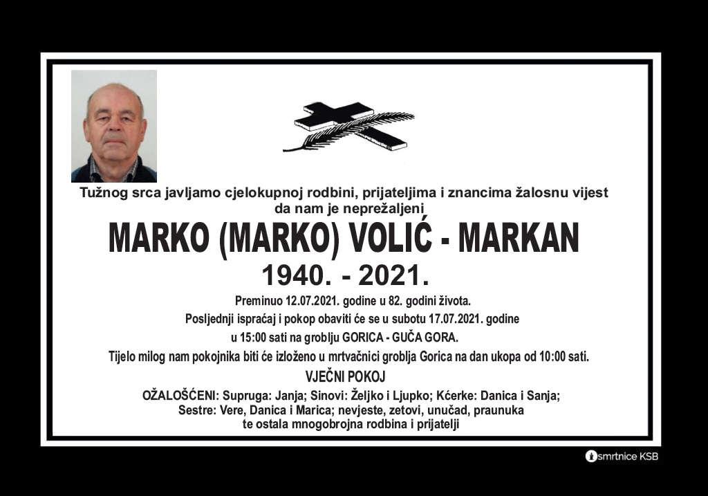 Preminuo Marko Volić - Markan
