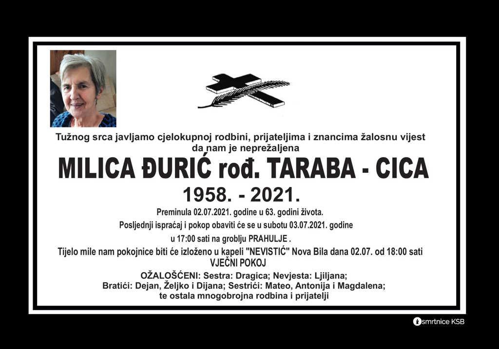 Preminula Milica Đurić