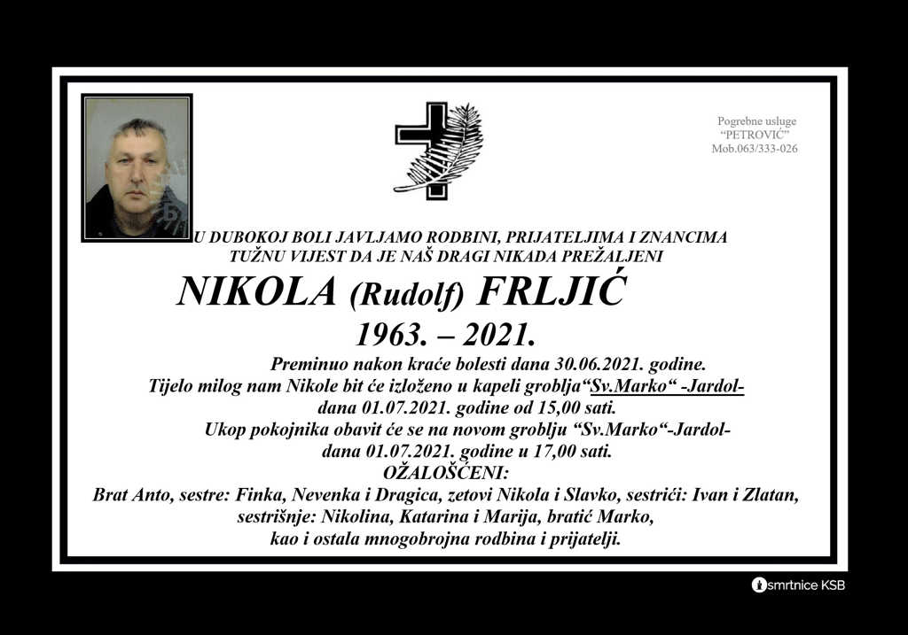 Preminuo Nikola Frljić