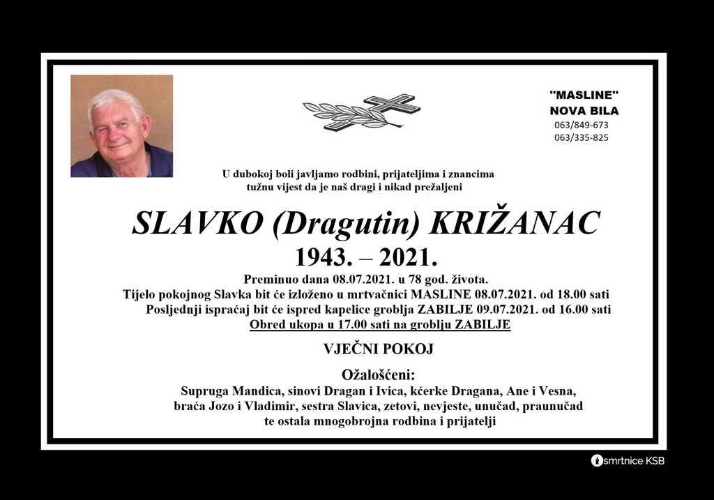 Preminuo Slavko Križanac