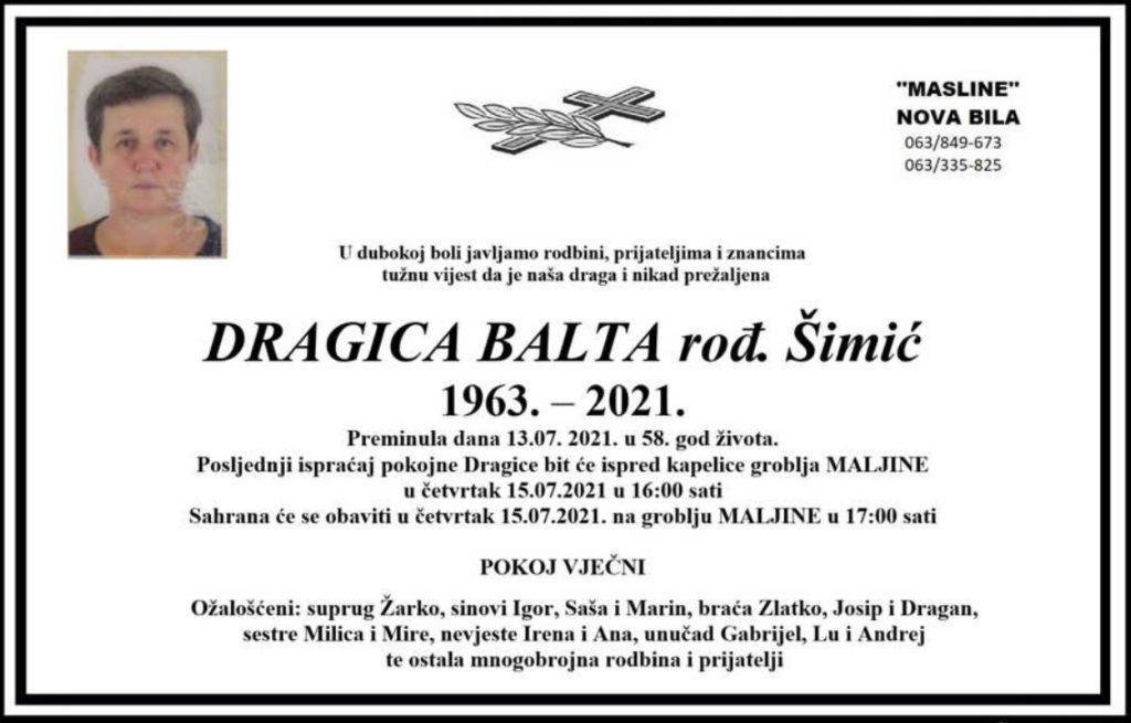 Preminula Dragica Balta