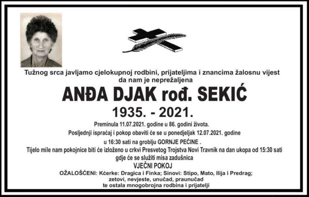 Preminula Anđa Djak