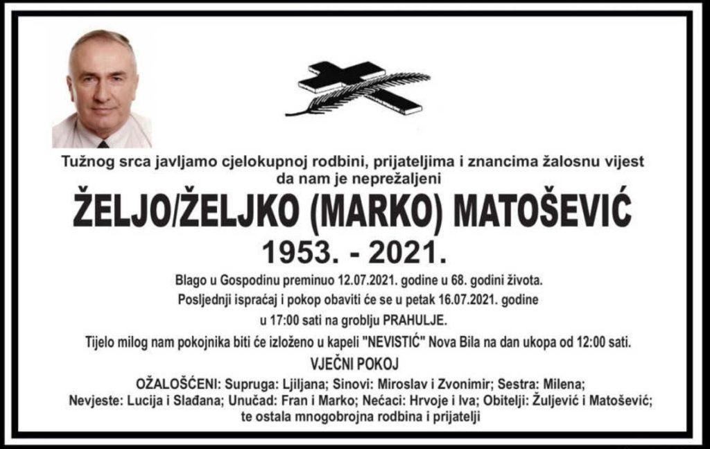 Preminuo Željo Matošević