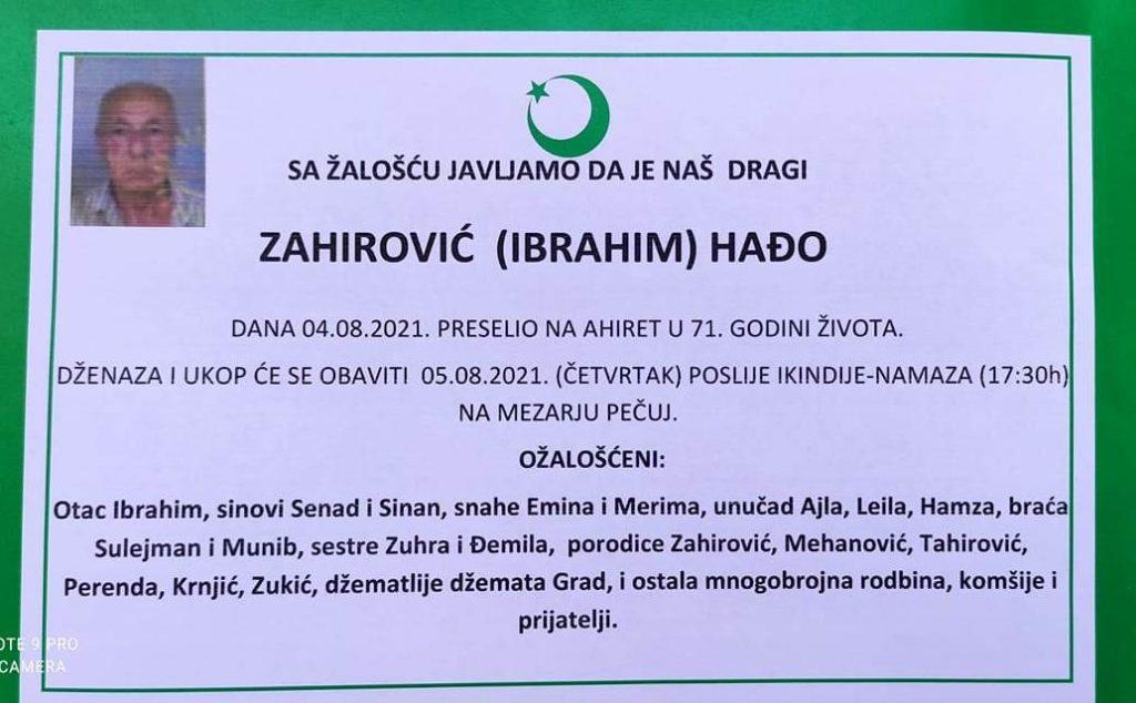 Preminuo Hađo Zahirović