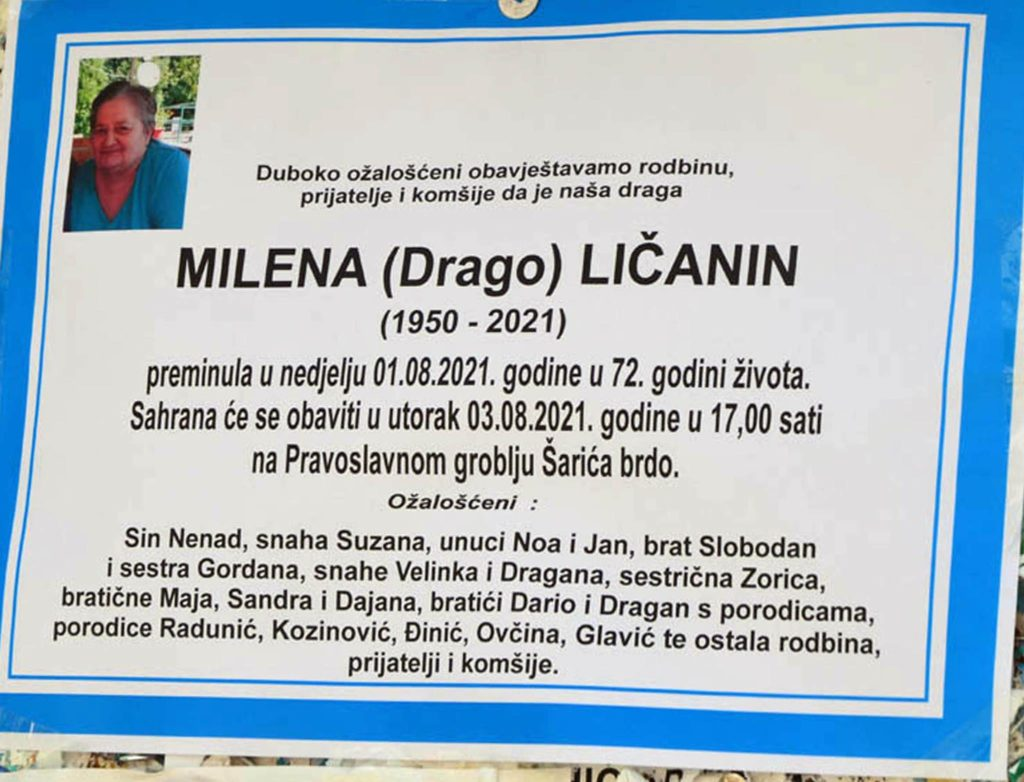 Preminula Milena Ličanin