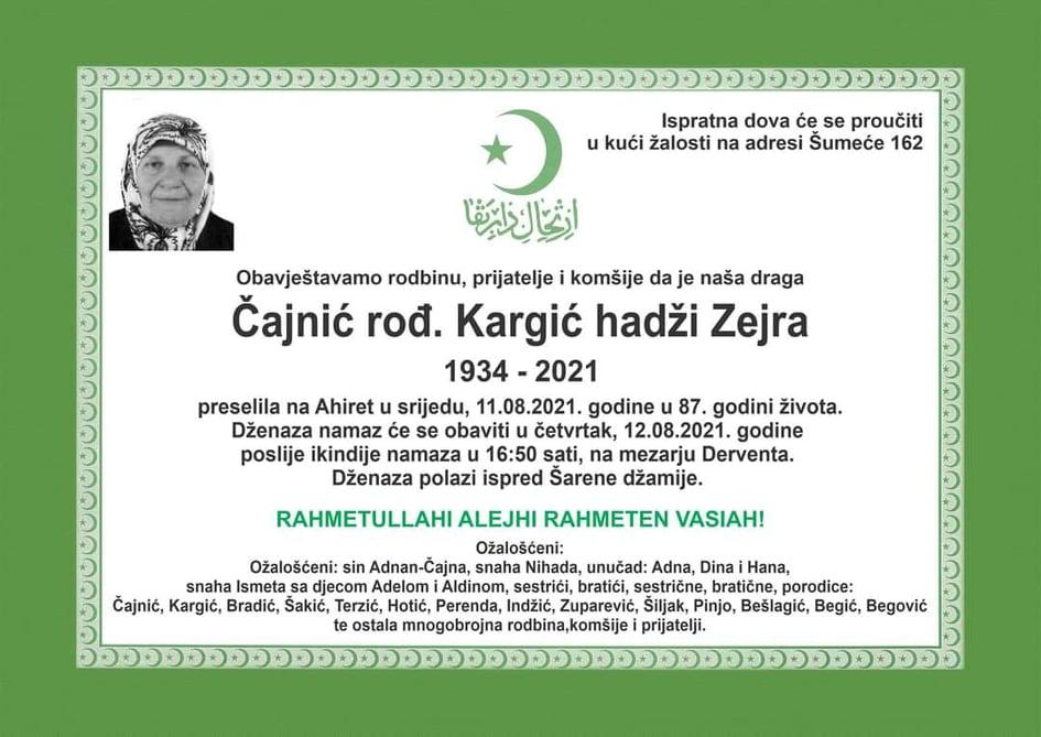 Preminula Čajnić hadži Zejra