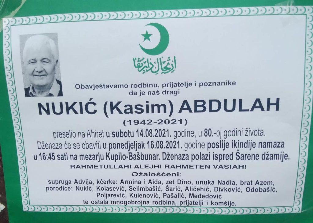 Preminuo Abdulah Nukić