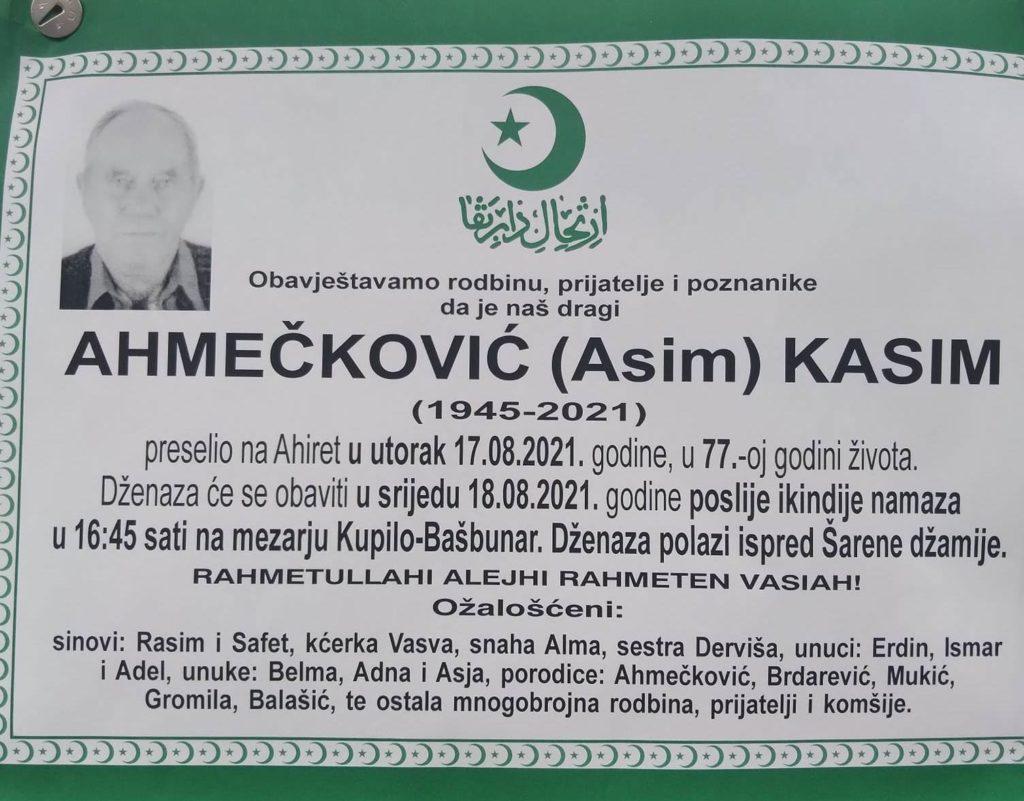 Preminuo Kasim Ahmečković