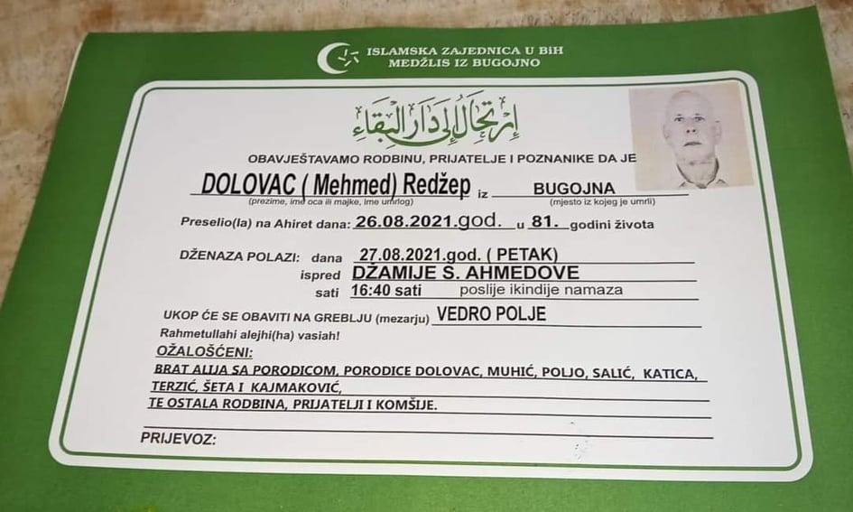 Preminuo Redžep Dolovac
