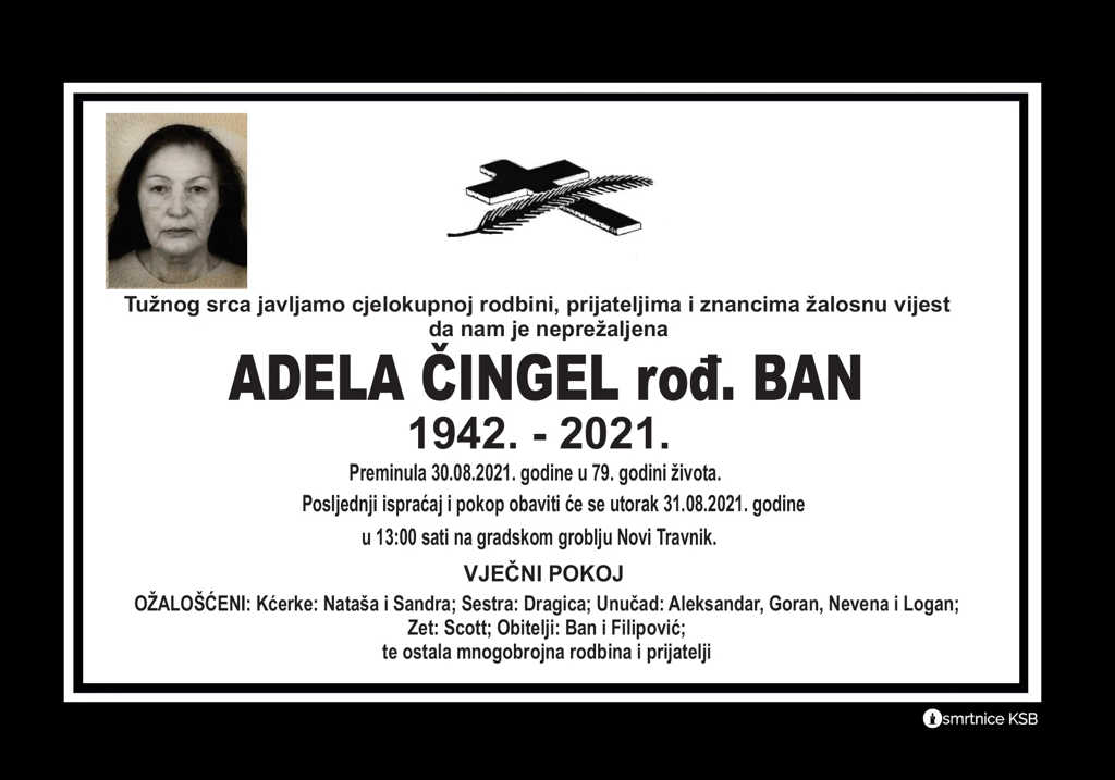 Preminula Adela Čingel