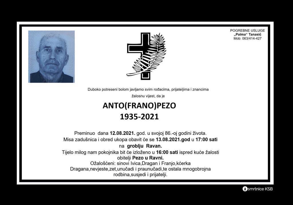 Preminuo Anto Pezo