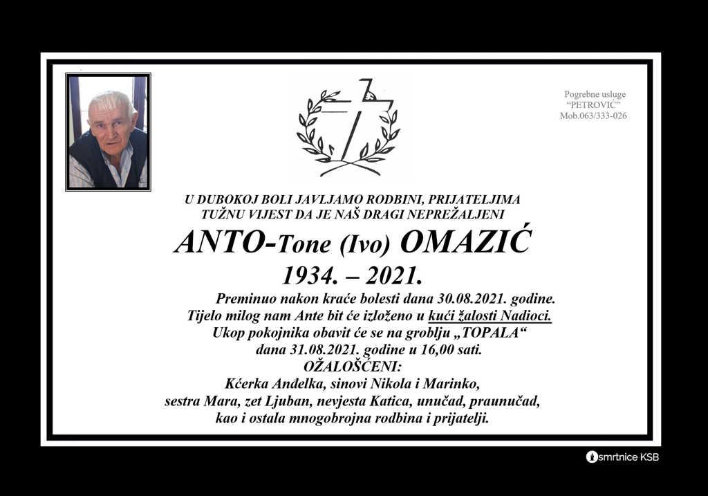 Preminuo Anto-Tone Omazić