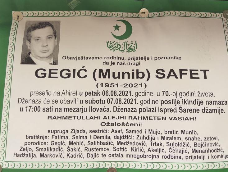 Preminuo Safet Gegić