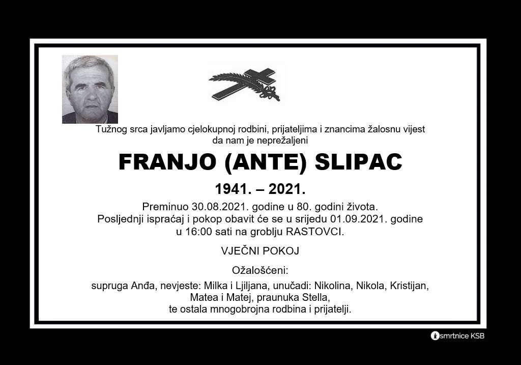 Preminuo Franjo Slipac