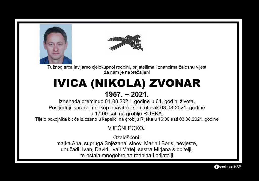 Preminuo Ivica Zvonar