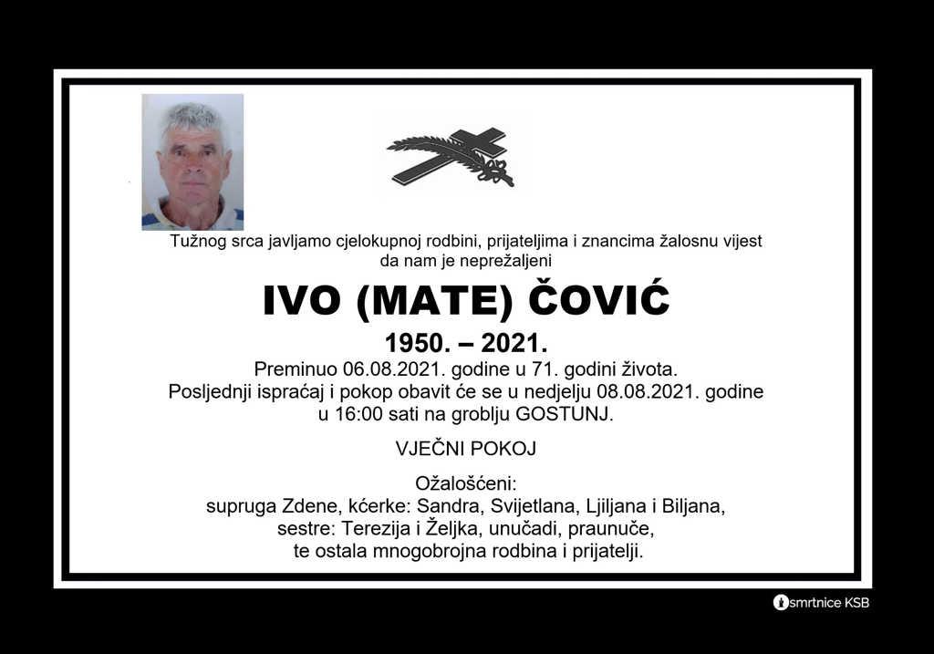 Preminuo Ivo Čović