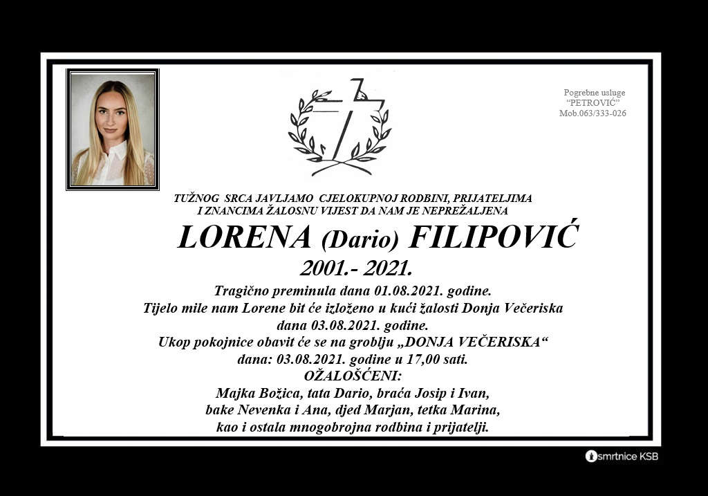 Preminula Lorena Filipović