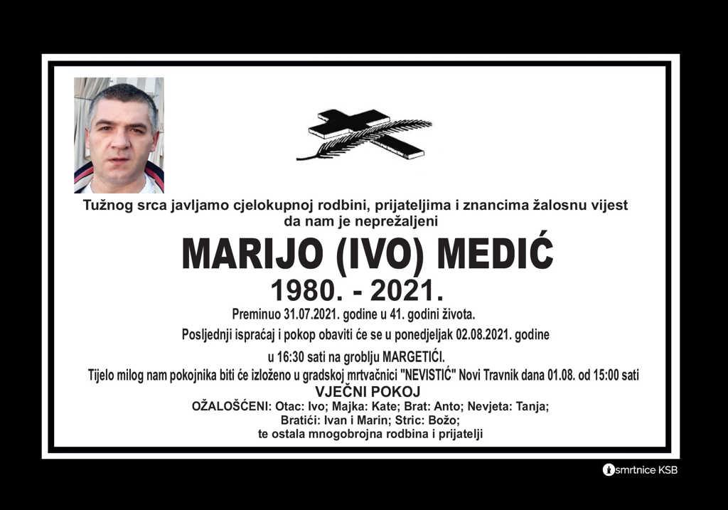 Preminuo Marijo Medić