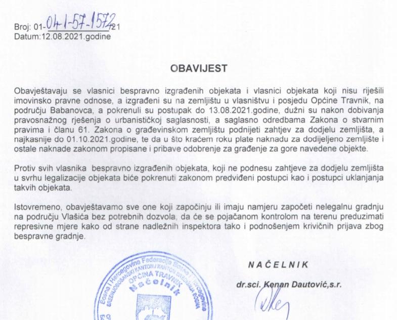 Općina Travnik/ Važna obavijest!