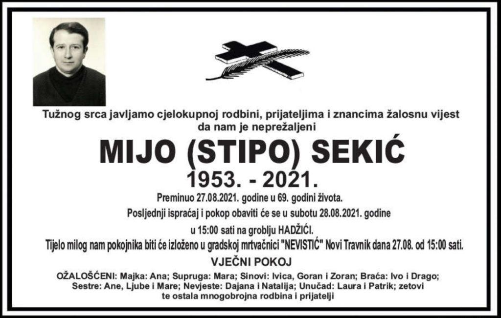 Preminuo Mijo Sekić