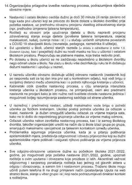 VAŽNO / Pročitajte sve upute za početak nastave u SBK