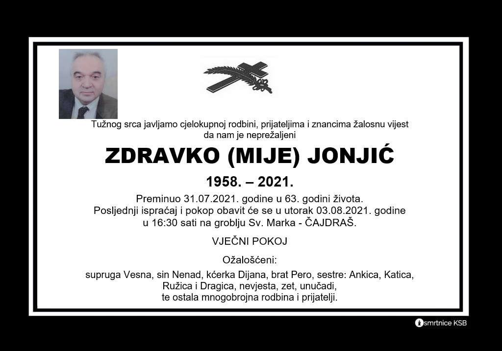 Preminuo Zdravko Jonjić