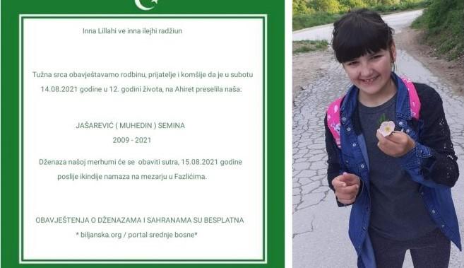 Travničko selo Fazlići okovano tugom/ Iznenada preminula 12-godišnja djevojčica Semina Jašarević