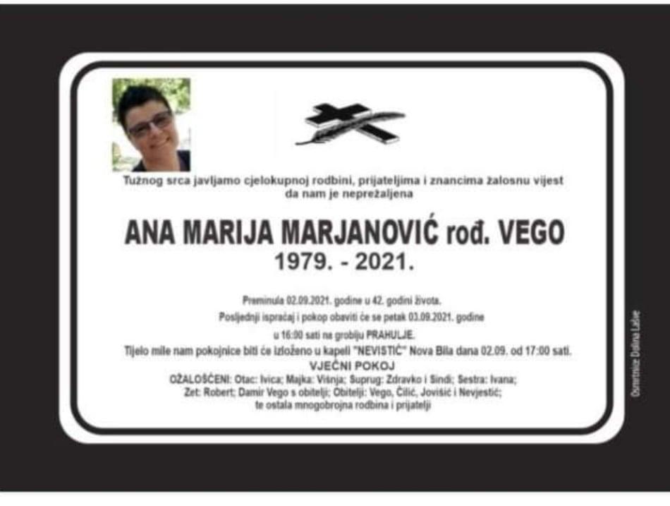Preminula Ana Marija Marjanović