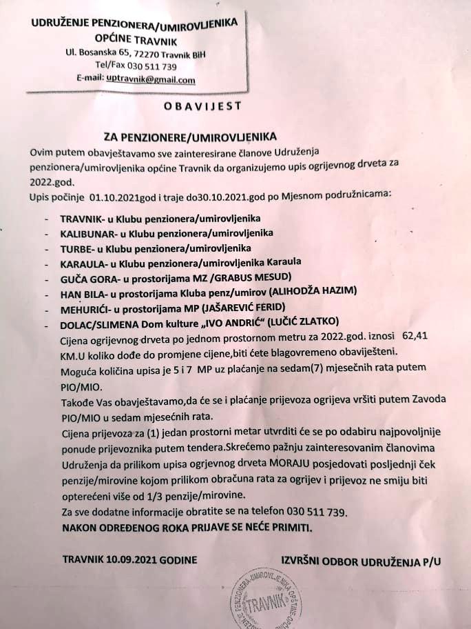 Važna obavijest za penzionere Općine Travnik
