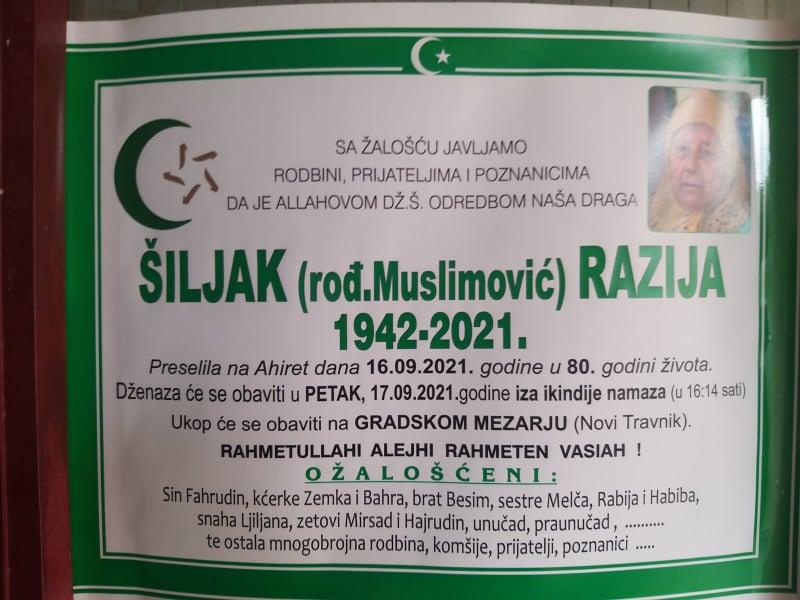 Preminula Razija Šiljak