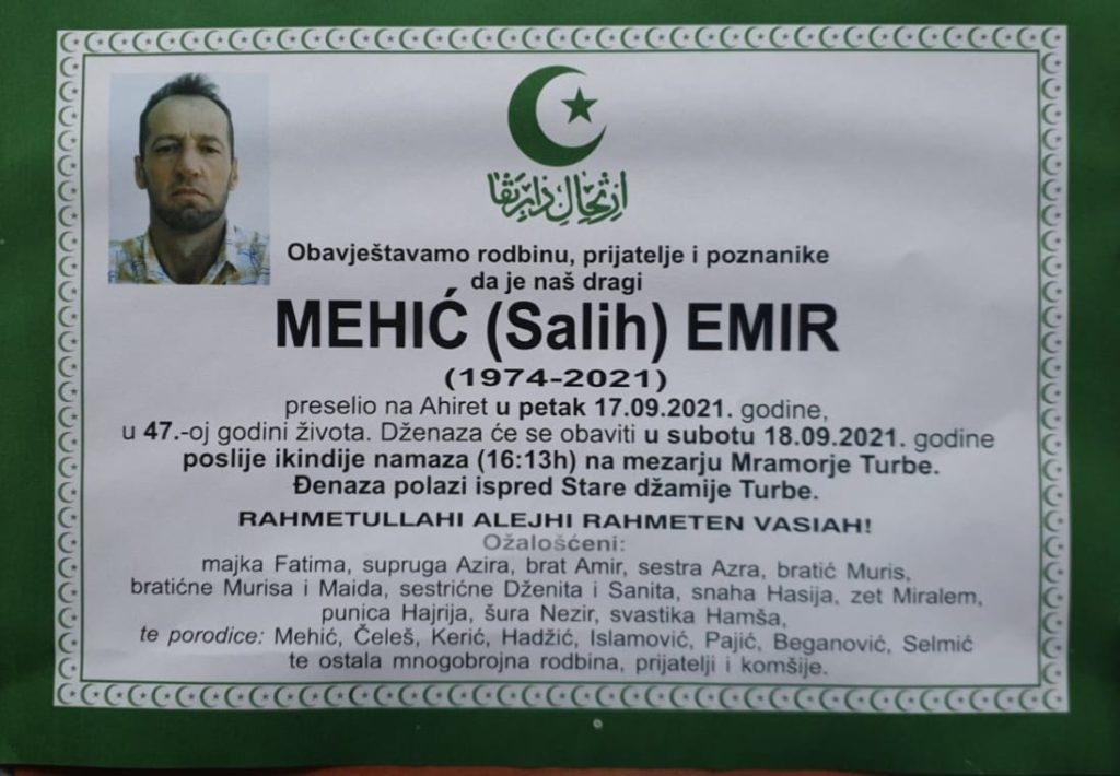 Preminuo Emir Mehić