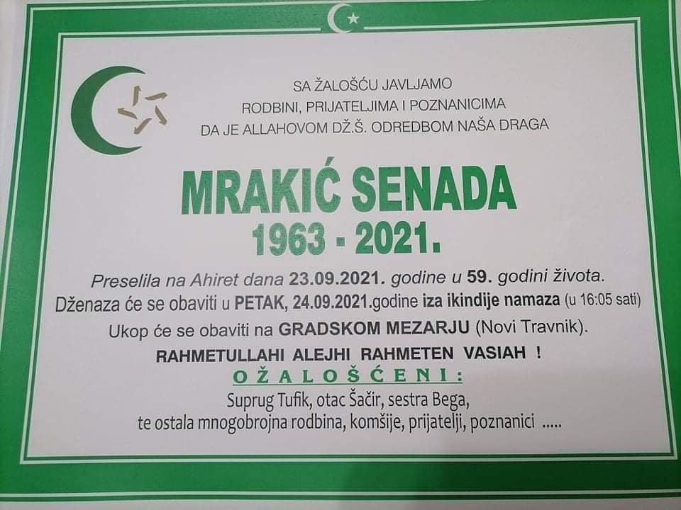 Preminula Senada Mrakić