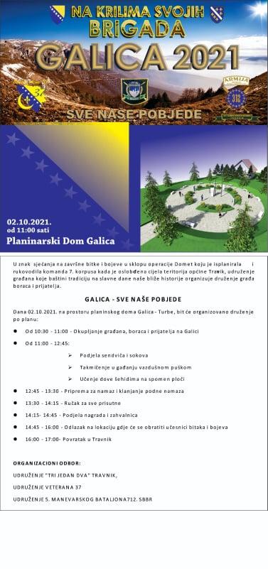GALICA - SVE NAŠE POBJEDE / U subotu druženje građana, boraca i prijatelja
