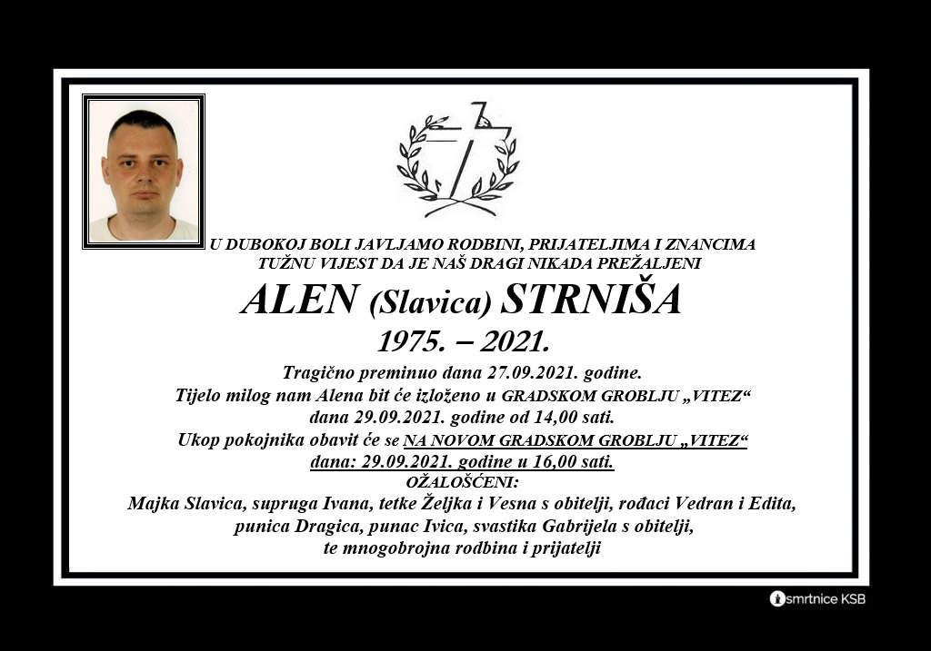 Preminuo Alen Strniša