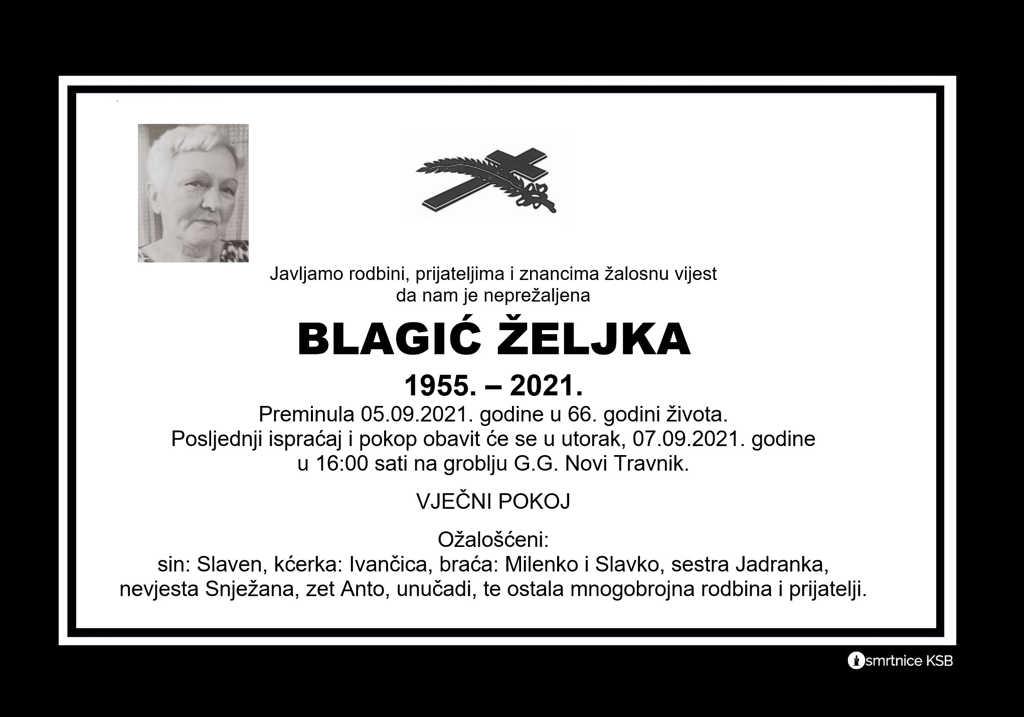 Preminula Željka Blagić