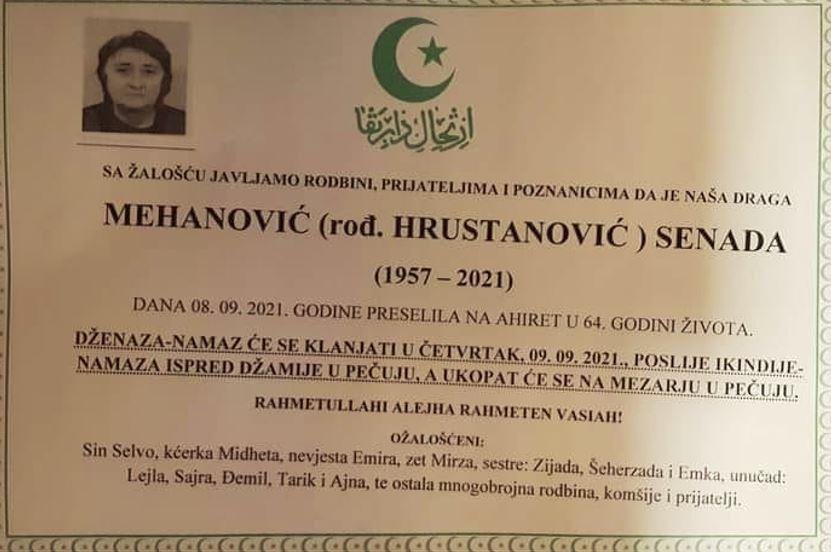 Preminula Senada Mehanović