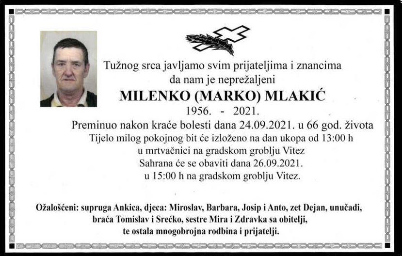 Preminuo Milenko Mlakić