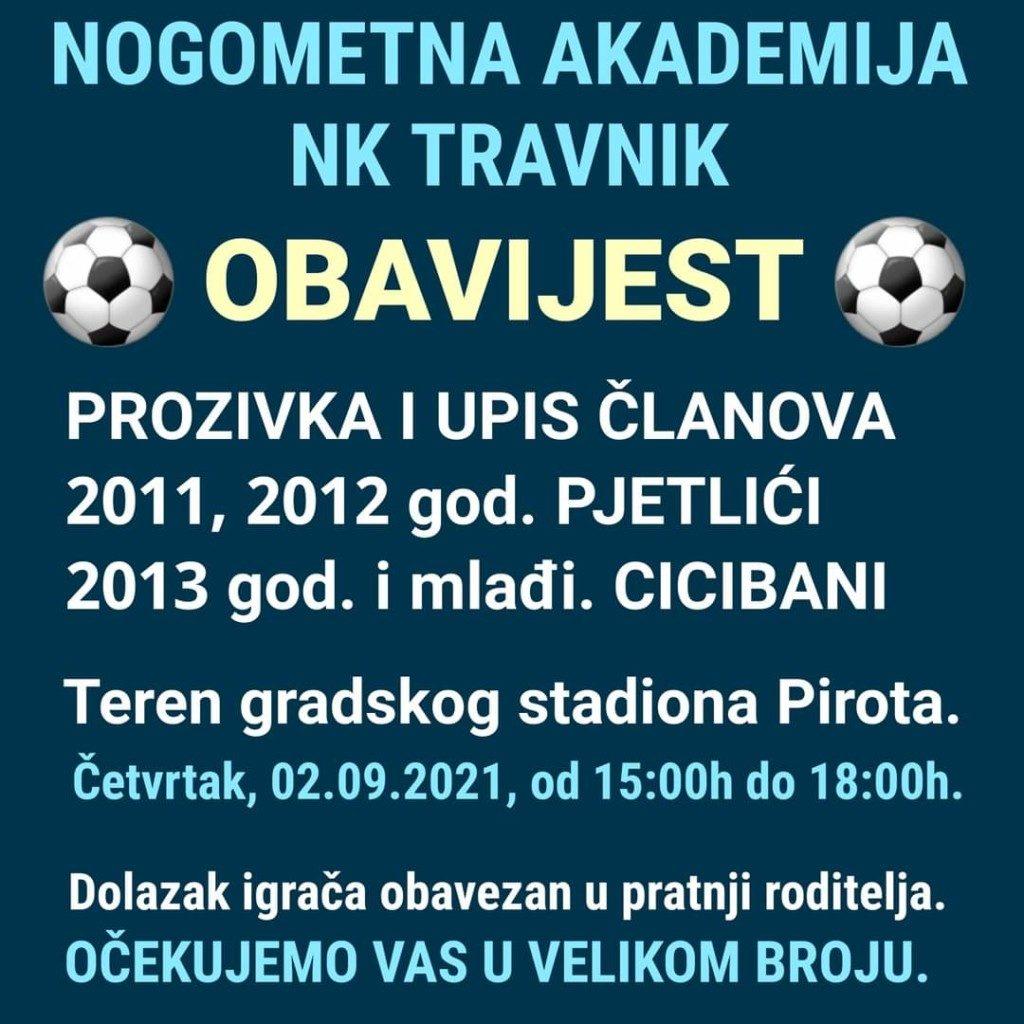 Danas upis na nogometnu akademiju NK Travnik