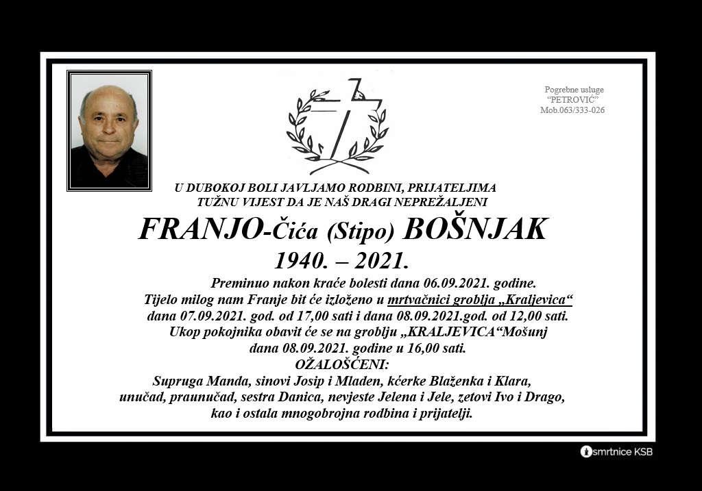 Preminuo Franjo - Čića Bošnjak