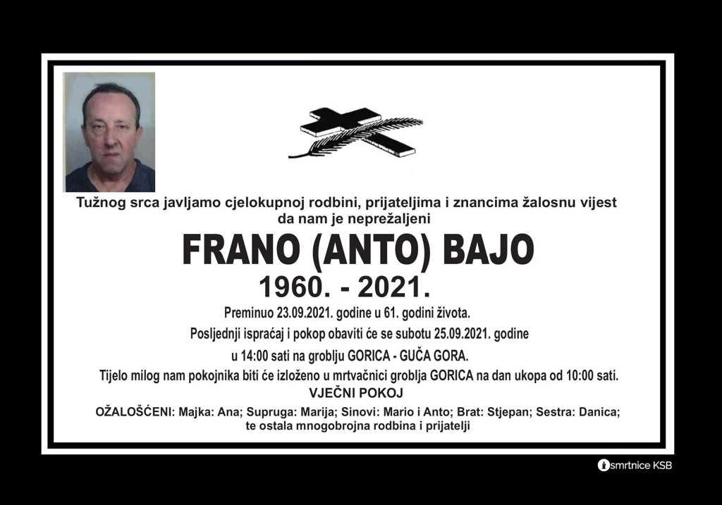 Preminuo Frano Bajo